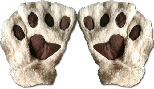 White Paws With Brown Pads Fingerless Gloves Cosplay Costume