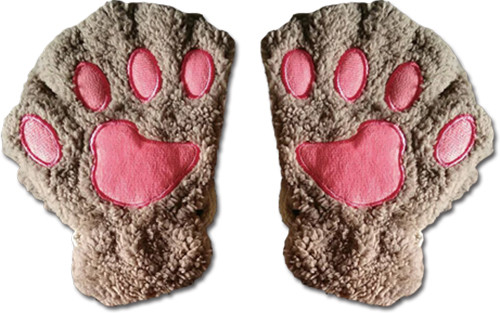 Gray Paws With Pink Pads Fingerless Gloves Cosplay Costume