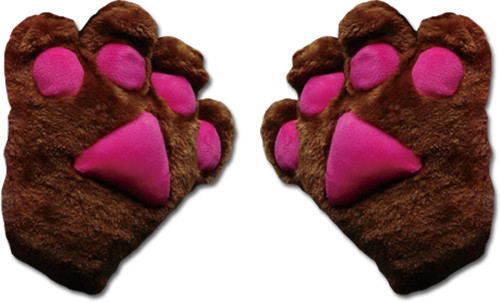 Dark Brown Paws With Hot Pink Pads Gloves Cosplay Costume