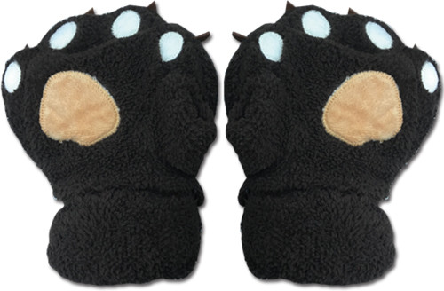 Black Paws With Tan And White Pads Fingerless Gloves Cosplay Costume