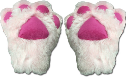 Light Pink Paws With Hot Pink Pads Gloves Cosplay Costume
