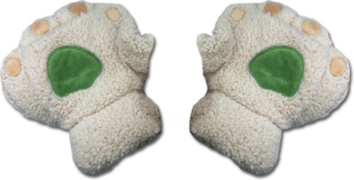 White Paws With Green And Gold Pads Fingerless Gloves Cosplay Costume