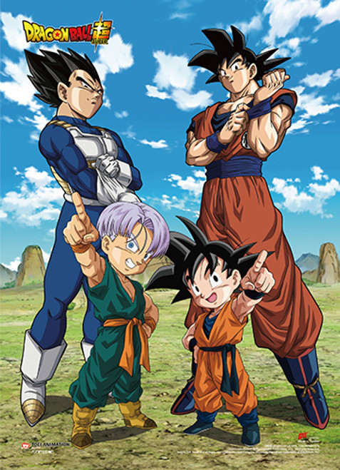 Dragon Ball Super Battle Of The Gods - Goku And Vegeta With Trunks and Goten Wall Scroll