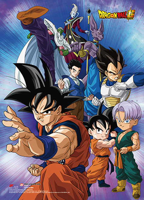 Dragon Ball Super Battle Of The Gods -  Goku, Vegeta, Piccolo, Beerus, Whis, Gohon, Trunks, And Goten Wall Scroll