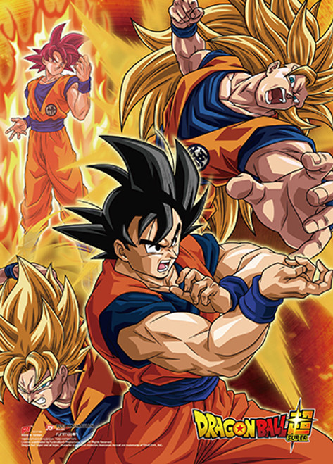 Dragon Ball Super Battle Of The Gods -  Goku In Many Different Forms Wall Scroll