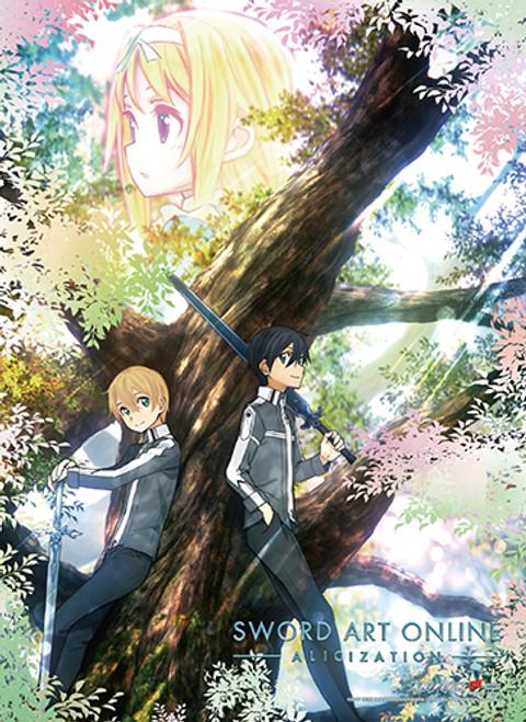 Sword Art Online Alicization - Kirito, Eugeo, And Alice Key Art Wall Scroll