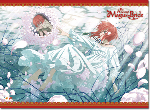 Ancient Magus' Bride - Chise Floating In Petal Filled Water Key Art Wall Scroll