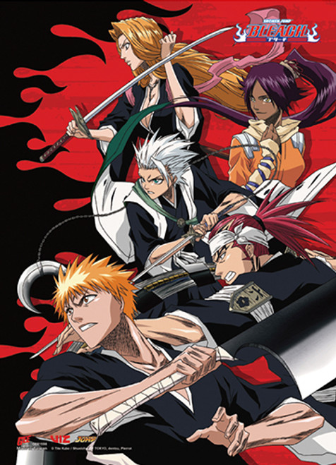 Bleach -  Ichigo And Soul Reapers Red Background Wall Scroll