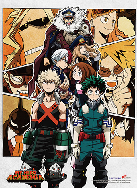My Hero Academia - Deku and Bakugo In Center With Other Members Of Cast In Background
