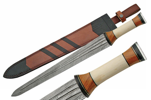 Damascus Bone Handle Greek Style Sword