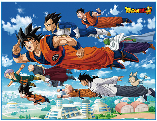 Dragon Ball Super - Group Flying Over City Throw Blanket