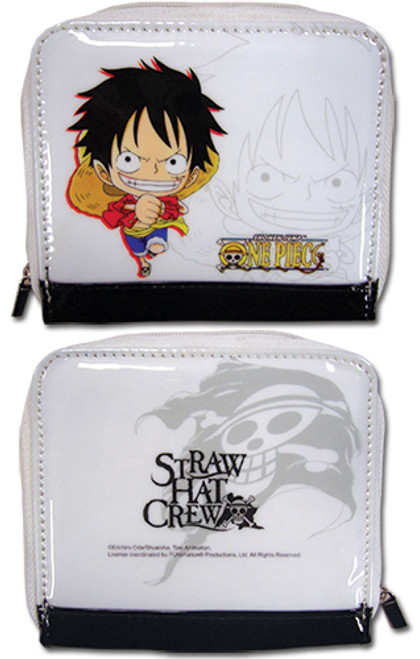 One Piece - Luffy On White Zipped Wallet