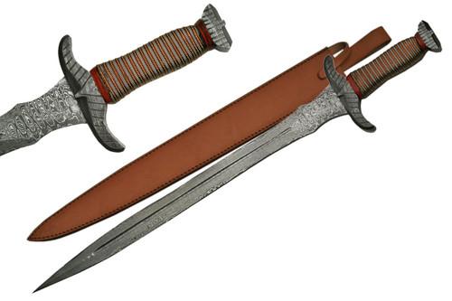 Damascus Steel Sroove Short Sword