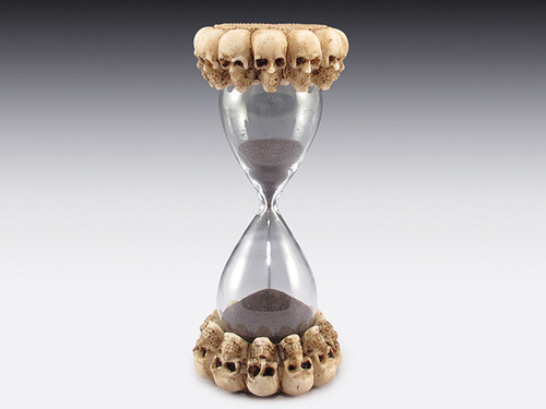 """6"""" skulls surrounded on the top and bottom of an hourglass"""
