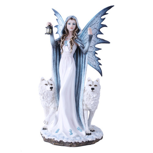 """18"""" Fairy with 2 white wolves"""