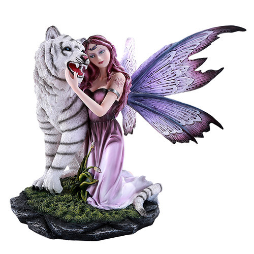 """13.5"""" Gentle tiger with caressing fairy"""