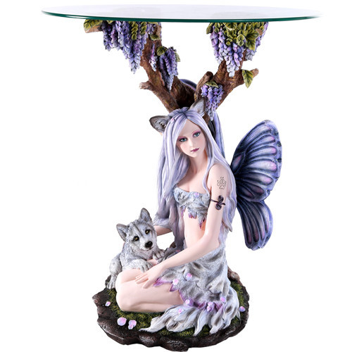 """27.5"""" Fairy with baby wolf table"""