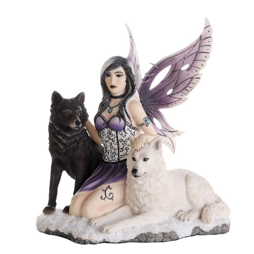 """11"""" Magical fairy with twin wolves"""