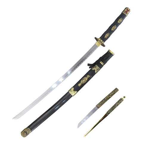 """37"""" Carbon Steel, Black Cord Wrapped Handle, Black And Gold Sheath, Samurai Sword And Letter Opener Set"""