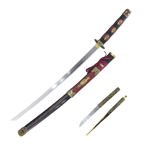 """37"""" Carbon Steel, Red Cord Wrapped Handle, Red And Gold Sheath, Samurai Sword And Letter Opener Set"""