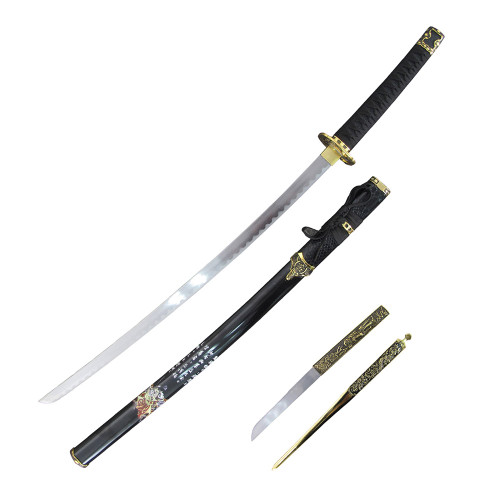 "37"" Carbon Steel, Black Cord Wrapped Handle, Japanese Symbols On A Black Sheath, Samurai Sword And Letter Opener Set"