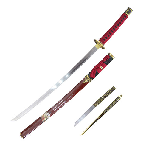 """37"""" Carbon Steel, Red Cord Wrapped Handle, Japanese Symbols On A Red Sheath, Samurai Sword And Letter Opener Set"""