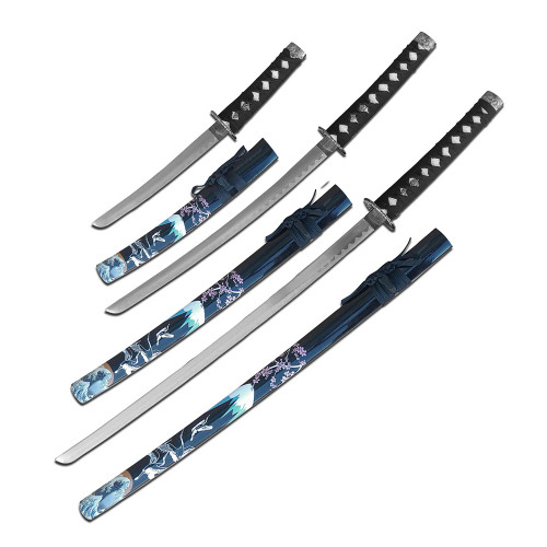 3 Sword Set  with Black Painted Sheaths