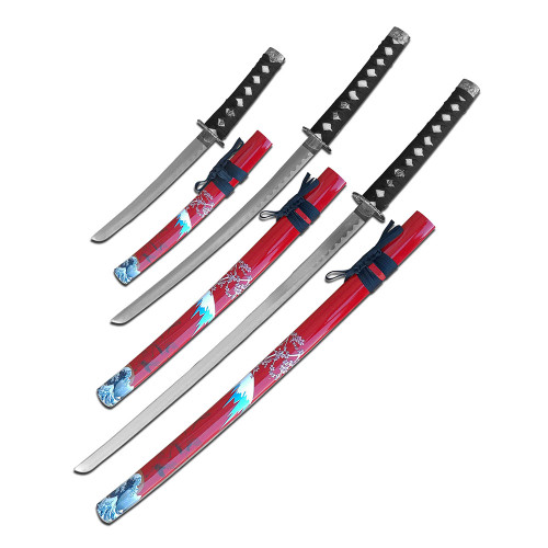 3 Sword Set with with Red Sheaths