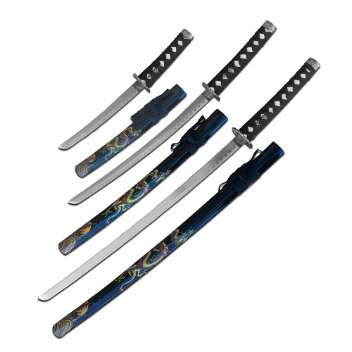 3 Sword Set with Beautiful Gold Dragons and Black Sheath