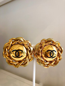 CHANEL GOLD & LEATHER EARRINGS