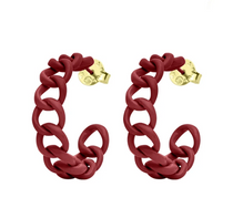 GAME DAY PETITE CHAIN HOOPS / MAROON PAINTED