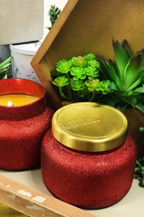 RED GLITTER CANDLE / VOLCANO
