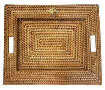 HANDWOVEN TRAY WITH GOLD CHARMS