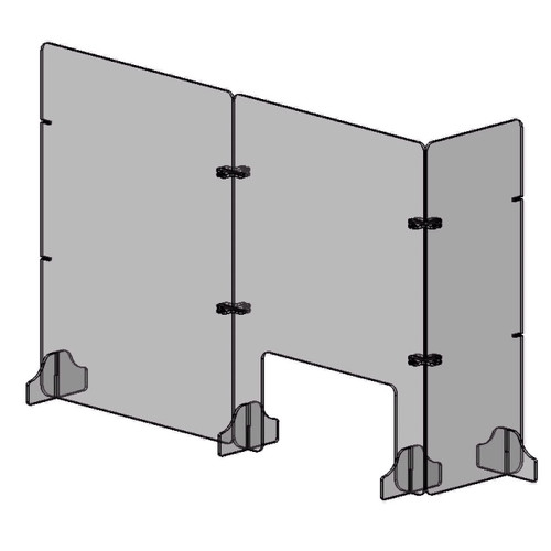 Line art of assembled retail shield barrier