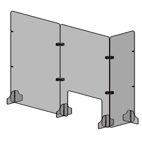 Line art of assembled retail shield barrier
