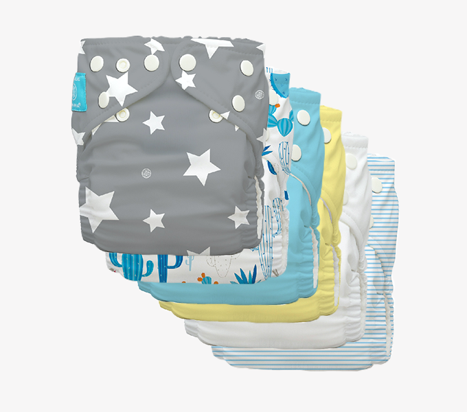 6 Reusable Charlie Banana One-Size Cloth Diaper Hybrid AIO
