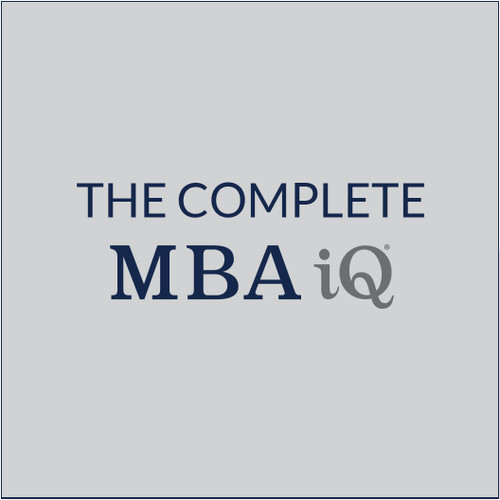 Business is a universal language. It doesn't matter what industry you come from, there are fundamental tenets that every professional needs to master. Every business uses accounting. Every organization has operations. Every product or service needs marketing. Set yourself up for success by frontloading your learning with MBA iQ.  Our best-in-class courses cover Management and the Business Environment; Marketing and Operations; and Accounting and Finance. By frontloading your learning, you can start Day 1 of your MBA with the framework and tools to optimize your experience.   The Complete MBA iQ is our most comprehensive product and includes MBA iQ 100, 200 and 300.
