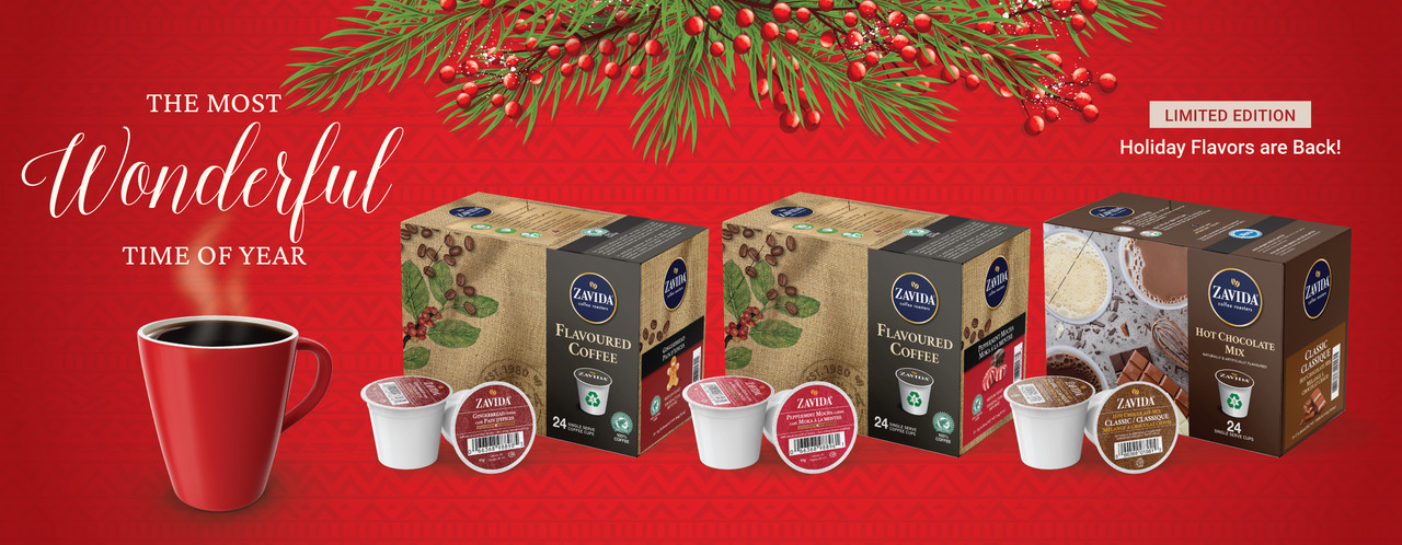 ginger bread, peppermint mocha and hot chocolate single serve now available