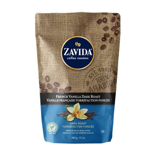 Zavida Coffee, French Vanilla Dark Roast, 12 oz Bag