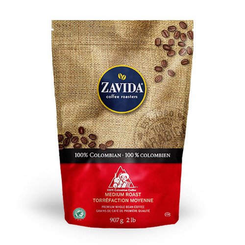 Zavida Coffee, Wholesale Colombian, 2LB Whole Bean Bag