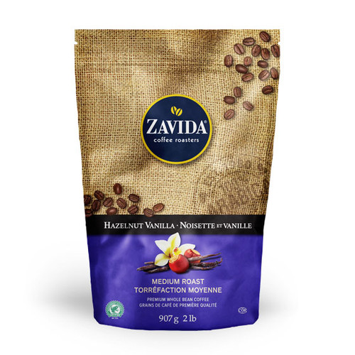 Zavida Coffee, Wholesale Hazelnut Vanilla, 2LB Whole Bean Bag