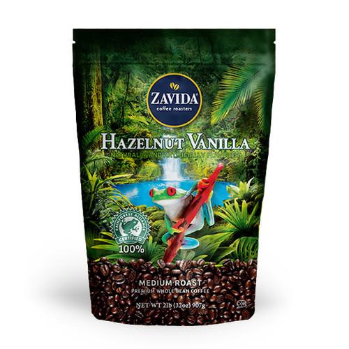 Zavida Coffee, Wholesale Hazelnut Vanilla, 2LB Whole Bean Bag