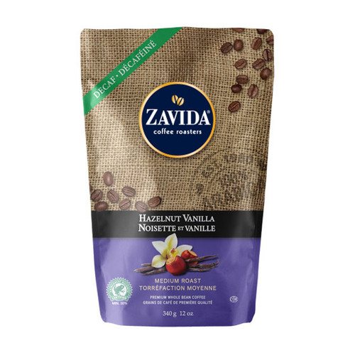 Zavida Coffee, Decaf Hazelnut Vanilla, 12 oz Bag