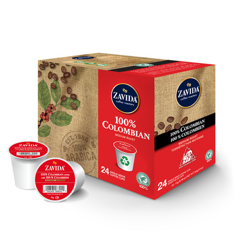 100% Colombian Single Serve Coffee Cups - 24ct