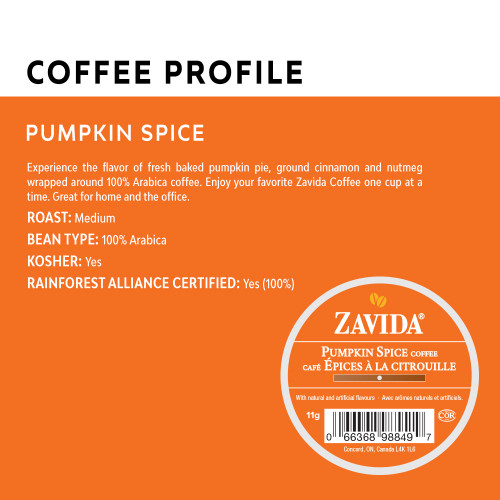 Zavida Coffee, Pumpkin Spice Coffee Profile, Single Serve Box (24 count)
