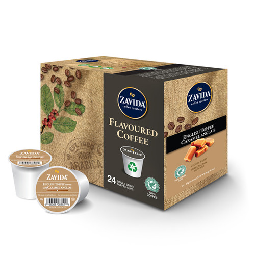 Zavida Coffee, English Toffee, Single Serve Box (24 count)