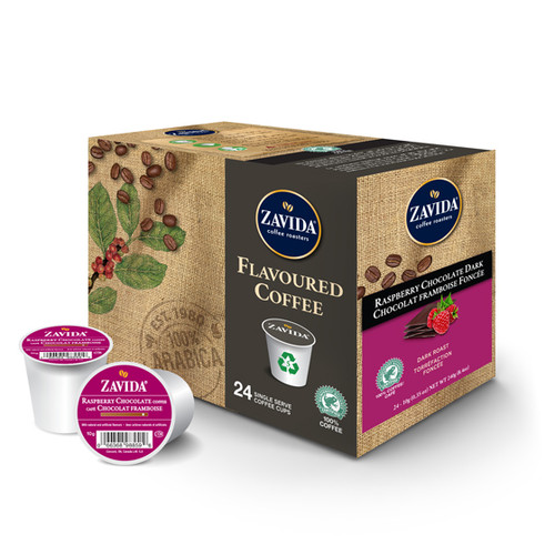 Zavida Coffee, Raspberry Chocolate, Single Serve Box (24 count)