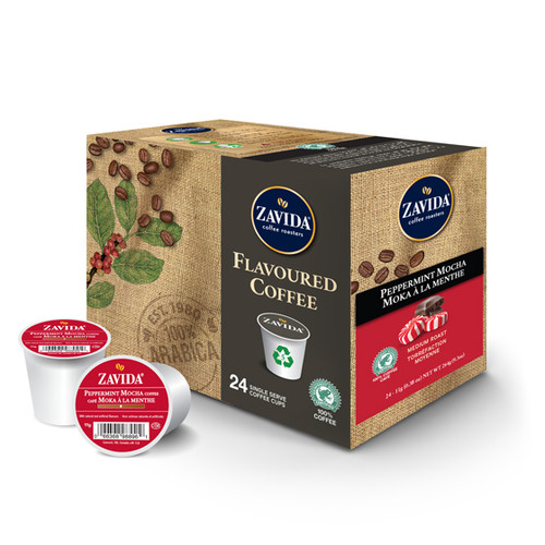 Zavida Coffee, Peppermint Mocha, Single Serve  Box (24 count)