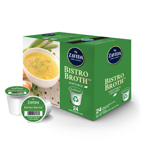 Zavida Coffee, Vegetable Bistro Broth, Single Serve Box (24 count)