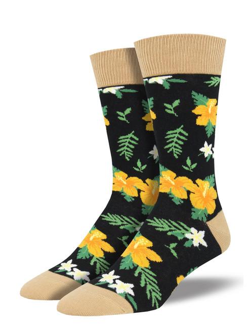 Black Aloha Floral Socks